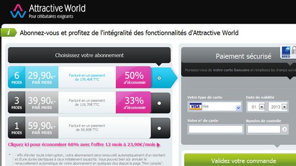 tarif attractive world