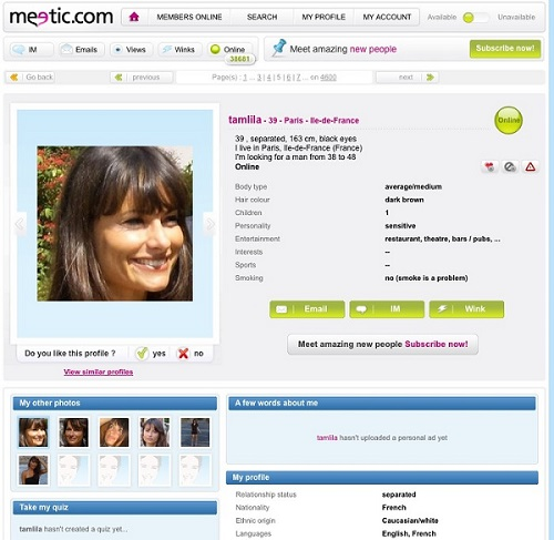 profil meetic lesbienne