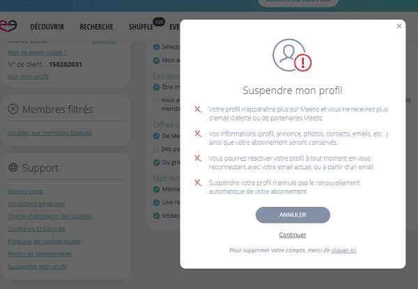 suspendre profil meetic